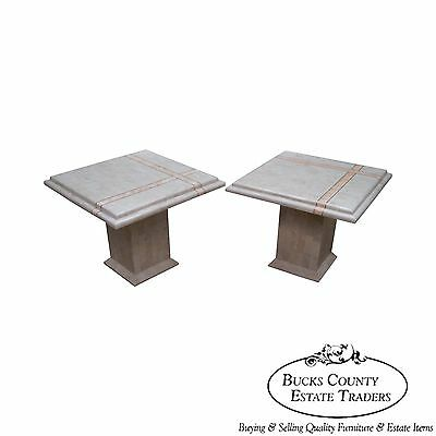 Maitland Smith Tessellated Stone Marble Pair of Square Pedestal End Tables