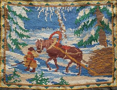 "VINTAGE cross stitches picture a man & a horse sleigh in the snow 19.5""x15"""