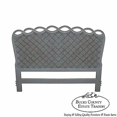 Vintage French Louis XV Style Painted Cane Back Queen Size Headboard