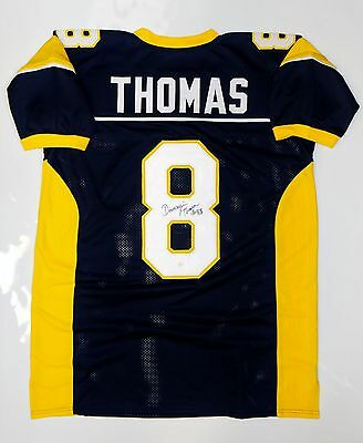 Demaryius Thomas Autographed Blue w/ Yellow College Style Jersey - JSA W Auth