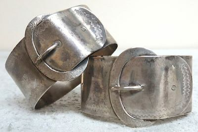 Pair (2) Of Belt Buckle Napkin Rings
