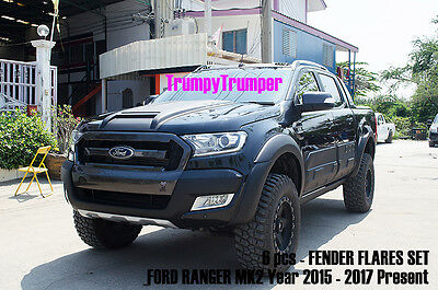 Matte Black Fender Flares Wheel Arch For Ford Ranger Mk2 Px Wildtrak 2015 2016
