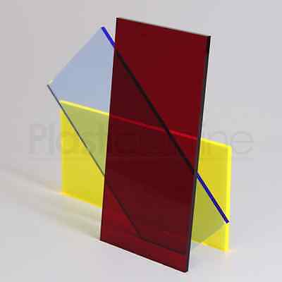 Red Tint Colour Perspex Acrylic Sheet Plastic Material Panel Cut to Size 3mm