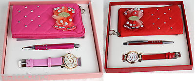 Girls Christmas Gift Set Watch & Soft Small Purse and pen Gift Pack