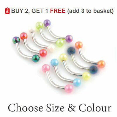 Curved Eyebrow Bar Banana Barbell Eye Coloured Balls Surgical Steel 16G 6mm-12mm