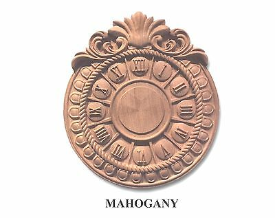 "Hand Carved Solid Mahogany Wall Clock face  11"" x 9-3/4"" x 1-1/8""Thick"