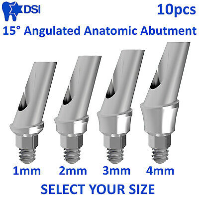 10x 15° Angulated Titanium Aesthetic Anatomic Abutment for Dental Implants