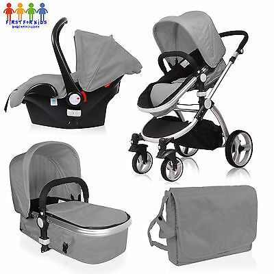 Boys Girls Pink Silver 3 in1 Carseat, Pushchair, Pram, Stroller Travel system,
