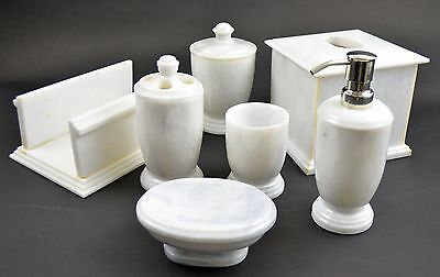 Imported Luxurious Glowing White Marble Bathroom Accessory Set, Hotel Quality