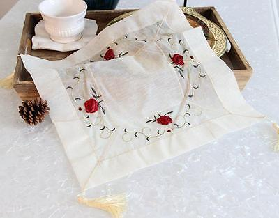 "Beautiful 3D Red Rose Embroidery Braid Sheer Patch Table Topper 15"" B"