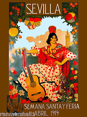 1919 Sevilla Seville Spain Europe European Vintage Travel Advertisement Poster