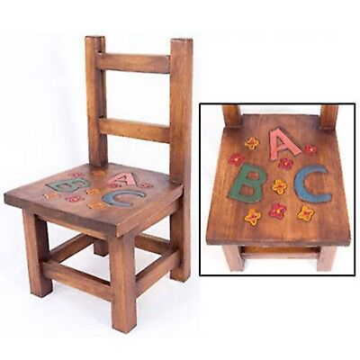 Childs Abc Chair Acacia Wood Alphabet Seat Design Bedroom Playroom Furniture