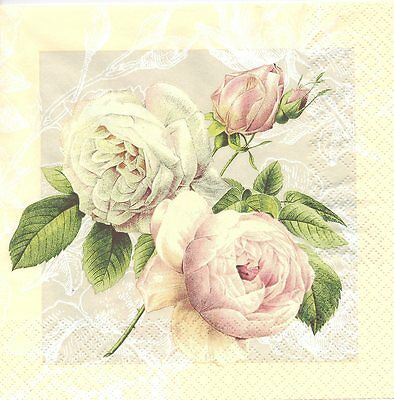 2 Serviettes en papier Fleur Rose sauvage - Paper Napkins Cottage Rose Flower