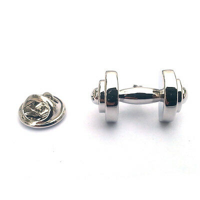DUMBBELL LAPEL PIN BADGE Weightlifter Fitness Instructor bodybuilder GIFT BOX