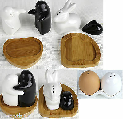 Ceramic Salt And Pepper with Bamboo Stand Gift Set