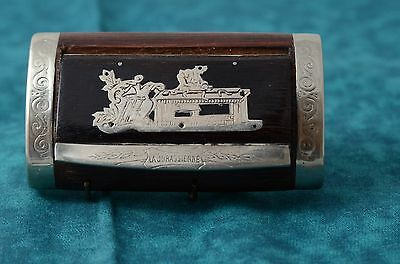 Antique French Rosewood Snuffbox Man With Lathe Large