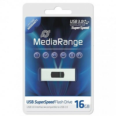 CLE USB 16 GO USB 3.0 MediaRange ULTRA RAPIDE AUTO-PROTEGEE / coulissante stick