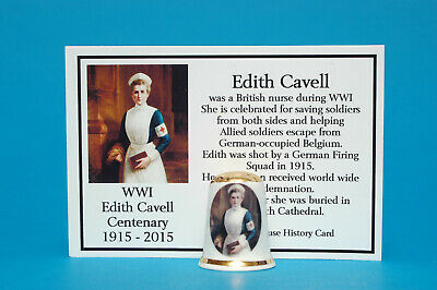 WWI Edith Cavell Centenary 1915-2015 Gold Topped Thimble+ History Card B/141