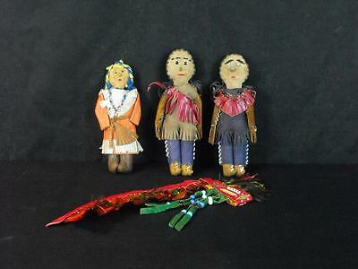 Vintage Group of 3 Native American Hand Made Dolls w/Feather Head Dress
