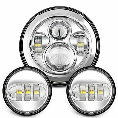 """7"""" Motorcycle Chrome Projector Daymaker Hid Led Headlight Passing Lights: Harley"""