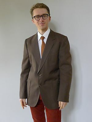 Vintage retro 60s authentic M mens brown sports coat jacket excellent