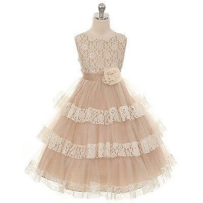 CHAMPAGNE Flower Girl Dresses Wedding Bridesmaid Pageant Birthday Party Formal