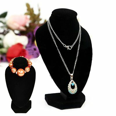 Velvet Black Necklace Pendant Chain Jewelry Bust Neck Display Stand Holder New