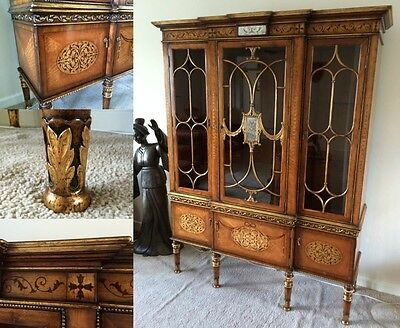 Regency Style Ornate Gilt Framed French Display Cabinet 19th Century Repro