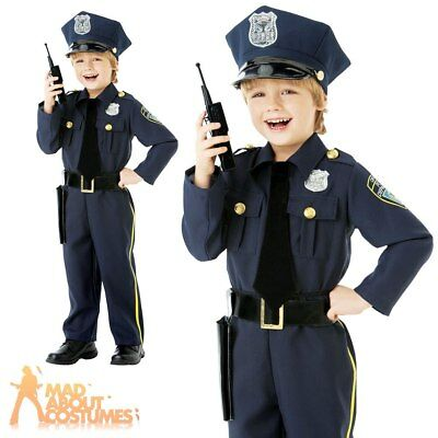 Child Police Officer Costume US Cop Fancy Dress Classic Uniform Outfit Age 4-10