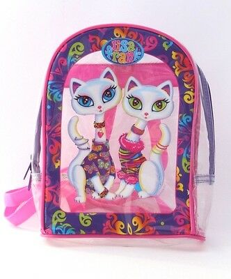 Vintage 90s Lisa Frank Clear Small  Back Pack Bag White Siamese Cats Roxi Rollie