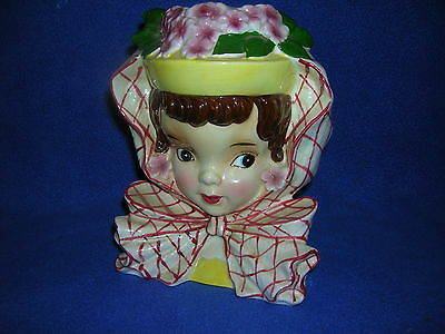 "Vintage 6"" planter/head vase by Ucagco, lady w/hat, scarf- orig. label, repaired"