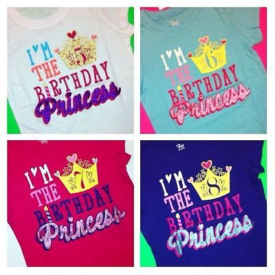 NEW 8th BIRTHDAY 8 Years Girls Happy PRINCESS Shirts 7 10 12 14 16 Gift PARTY Best Christmas