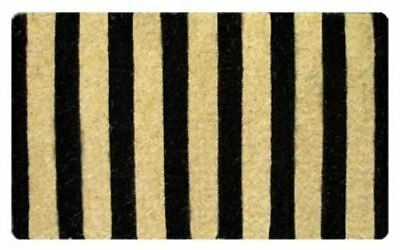 BLACK & Natural Stripes Design Sleek Contemporary 100% Coir Doormat / Door Mat