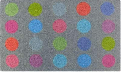 Coloured SPOTS Polka Vibrant Colours Contemporary 100% Coir Doormat / Door Mat