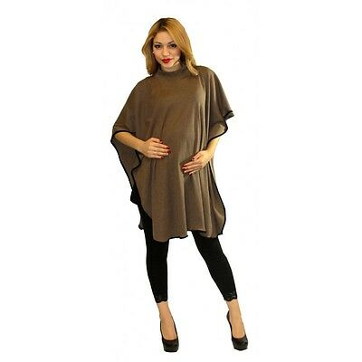 Mocha Maternity Poncho Shawl Warm Winter Pregnancy Coverup S M L XL
