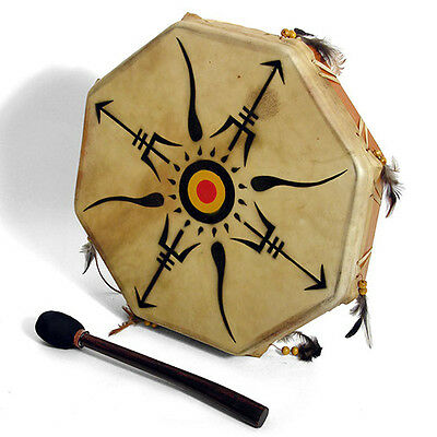 Tribe Drum - Octagonal Shaman Style Drum with Decorated Hide Head (3 sizes)