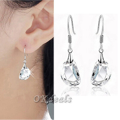Women 925 Sterling Silver Plated Ear Hook Crystal Rhinestone Dangle Earrings BTW