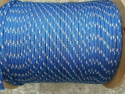 "3/8"" X 100 Halyard sail line,anchor rope polyester double braid 4800 USA ,Blue"