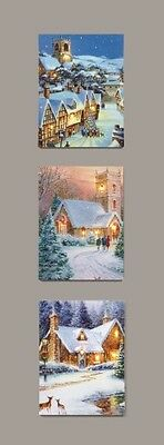 30 x 40cm Festive Battery Operated LIGHT UP Village Scene Christmas CANVAS