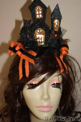Halloween Haunted House Hat LED Lighted Motion Activated Black & Orange
