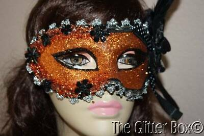 Halloween Masquerade Ball Mask Elegant Glittered Beaded Black Orange Silver