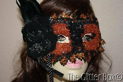 Halloween Masquerade Mask Elegant Glittered Black Lace Orange Beaded Feathers