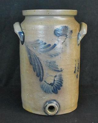 Antique Stoneware 3 Gal. Watercooler Unusual Cobalt Blue Decoration NICE!