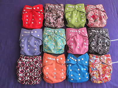 Lot of 12 Charcoal Bamboo Pocket Tagless ALVA cloth double-gusset diapers