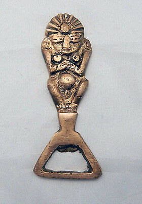 Vintage Brass Bottle Opener from Mexico Aztec  Mayan Hawaii Tiki Hawaiian