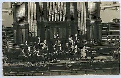 1920's Rp Npu Postcard Adelaide Town Hall Orchestra Steinway Grand Piano Y34