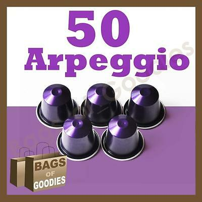 NEW 50 Nespresso CAPSULES ARPEGGIO Espresso Coffee Pods *FRESHLY SEALED IN BOX*
