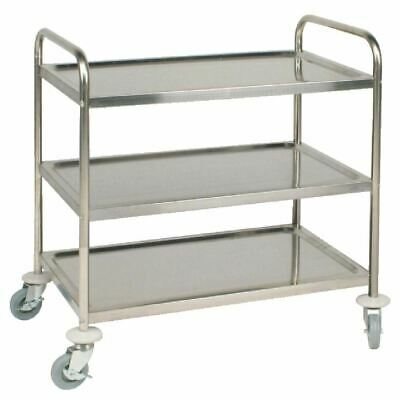Vogue 3 Tier Clearing Trolley Large Kitchen Food Serving Shelf Stainless Steel
