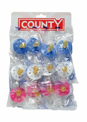 12 x County Baby Dummies Soothers Pacifiers Pink Blue White