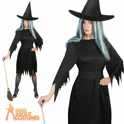 Adult Spooky Witch Costume Ladies Halloween Fancy Dress Outfit Black New